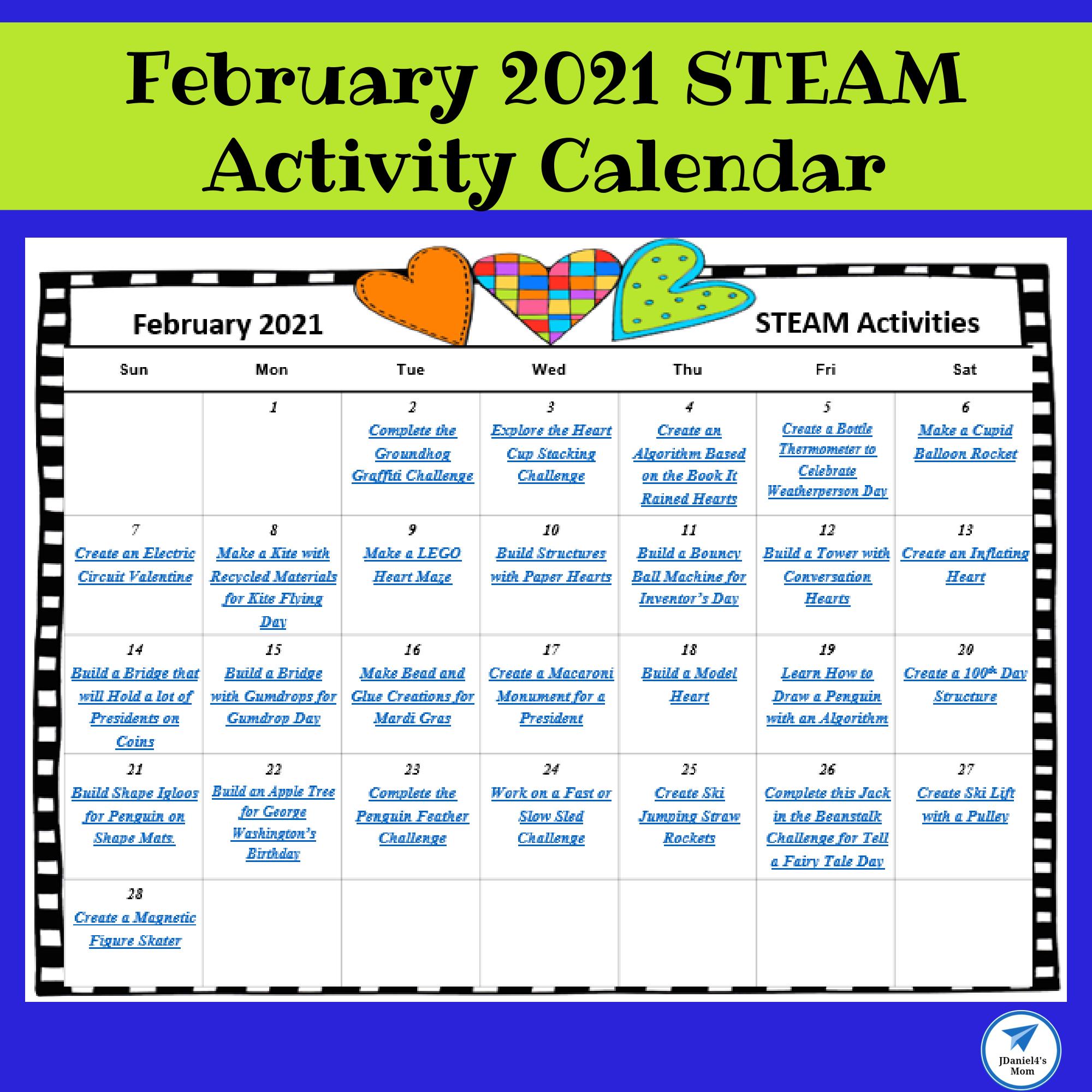 February 2021 STEAM Activity Calendar