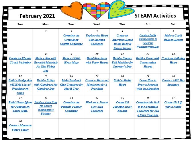 February STEAM Calendar 2021