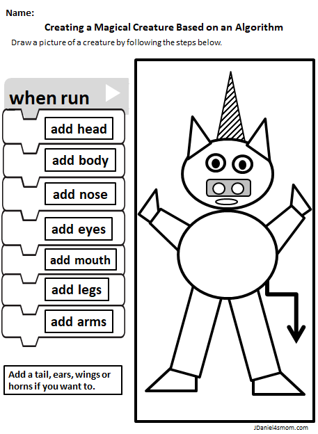 Magical Creatures STEM Coding Algorithm Drawing Activity - Completed Magical Creature