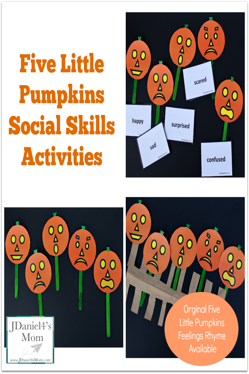 Five Little Pumpkins Social Skills Activities- A set of pumpkins and emotion cards are free to download. An original rhyme about five little pumpkins and feeling is shared in this post. This picture share feeling pumpkins as puppets on a fence.