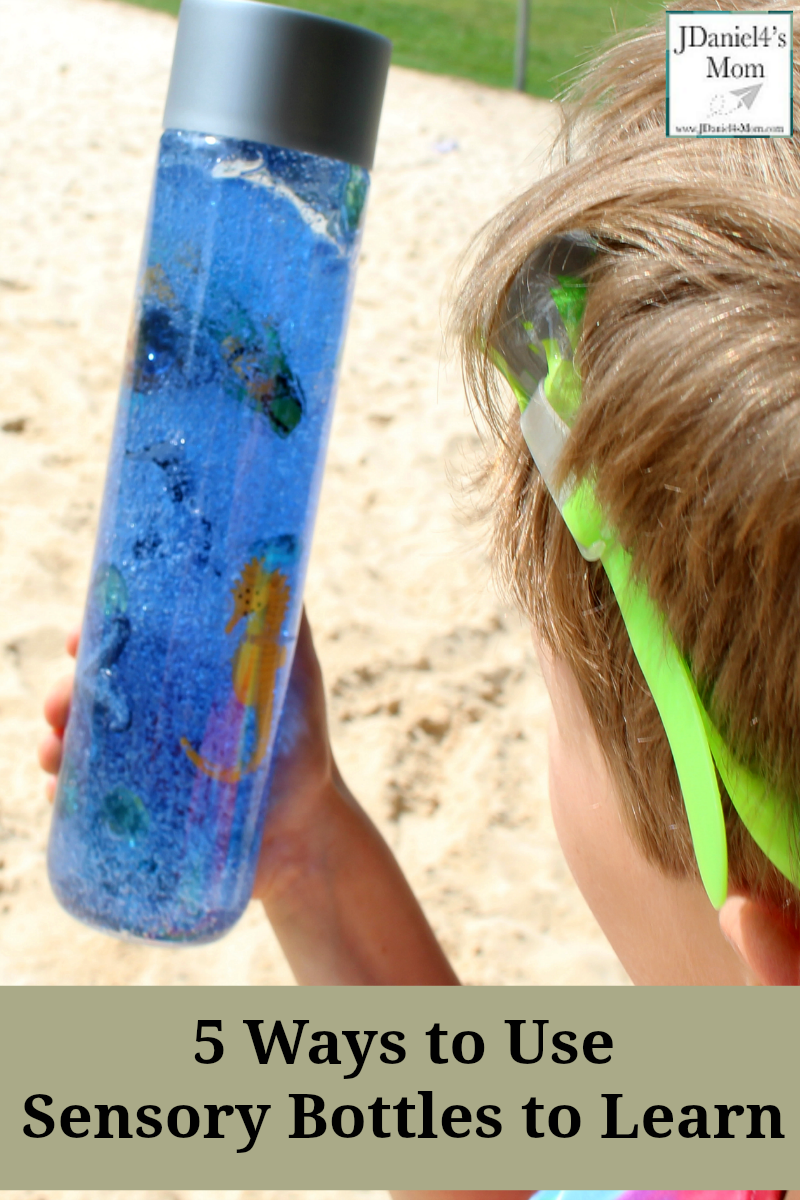 Five Ways to Explore Sensory Bottles - Stop by and see how to put this ocean themed sensory bottle together and fun ways to explore learning concepts with it.