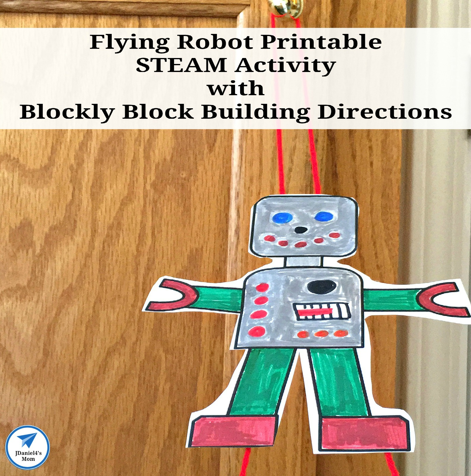 Flying Robot Printable STEAM Activity with Blockly Block Building Directions