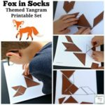 Fox in Socks Themed Tangram Printable Set - There are four tangram patterns in this set.