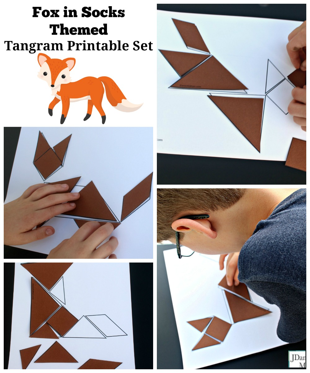 photo about Fox in Socks Printable referred to as Fox inside Socks Themed Tangram Printable Fastened