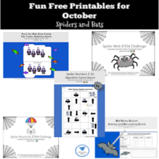Fun Free Printables for October with Spiders and Bats