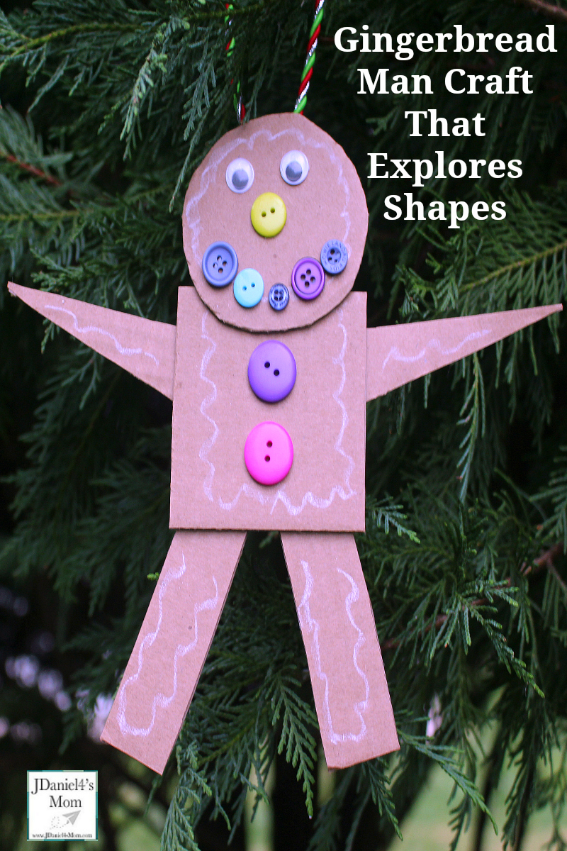 Gingerbread Man Craft That Explores Shapes- Your children at home or students at school will creating a gingerbread man with shapes. Later they can decorate the gingerbread man with buttons and wiggly eyes.