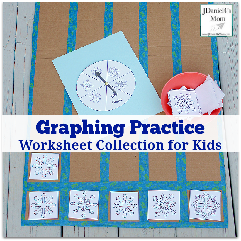 Graphing Practice Worksheet Collection for Kids - Snowflake Themed Graphing : This set includes graphing pieces and spinner.