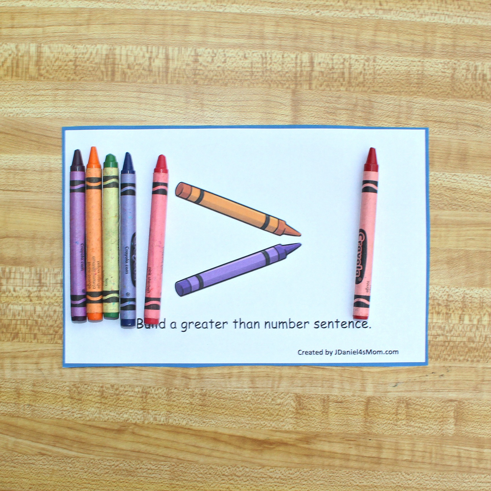 Printable Greater Than Activity Card