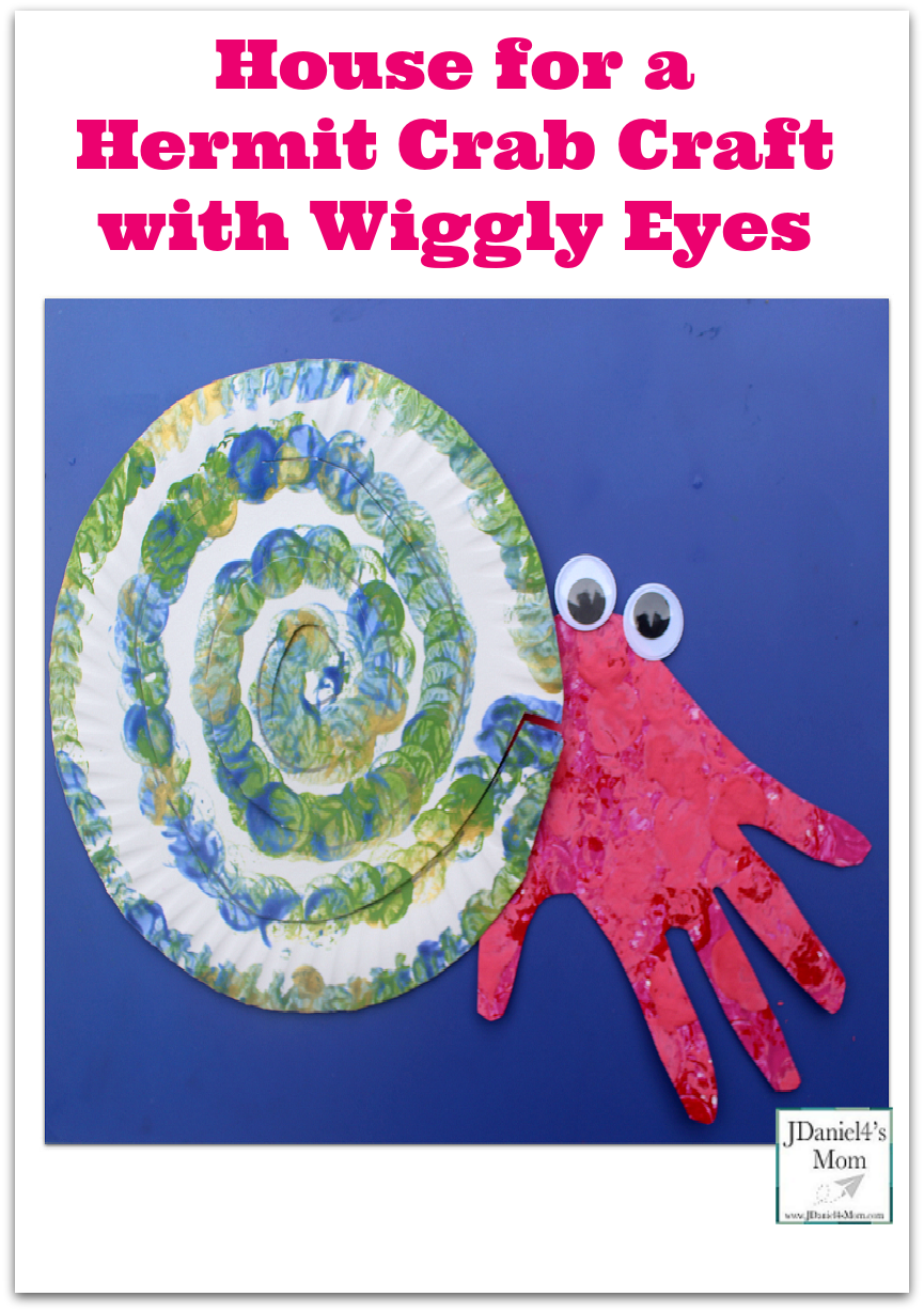 House for a Hermit Crab Craft with Wiggly Eyes - Children can work on tracing, stamping, drawing and cutting while creating this fun fine motor paper plate craft.