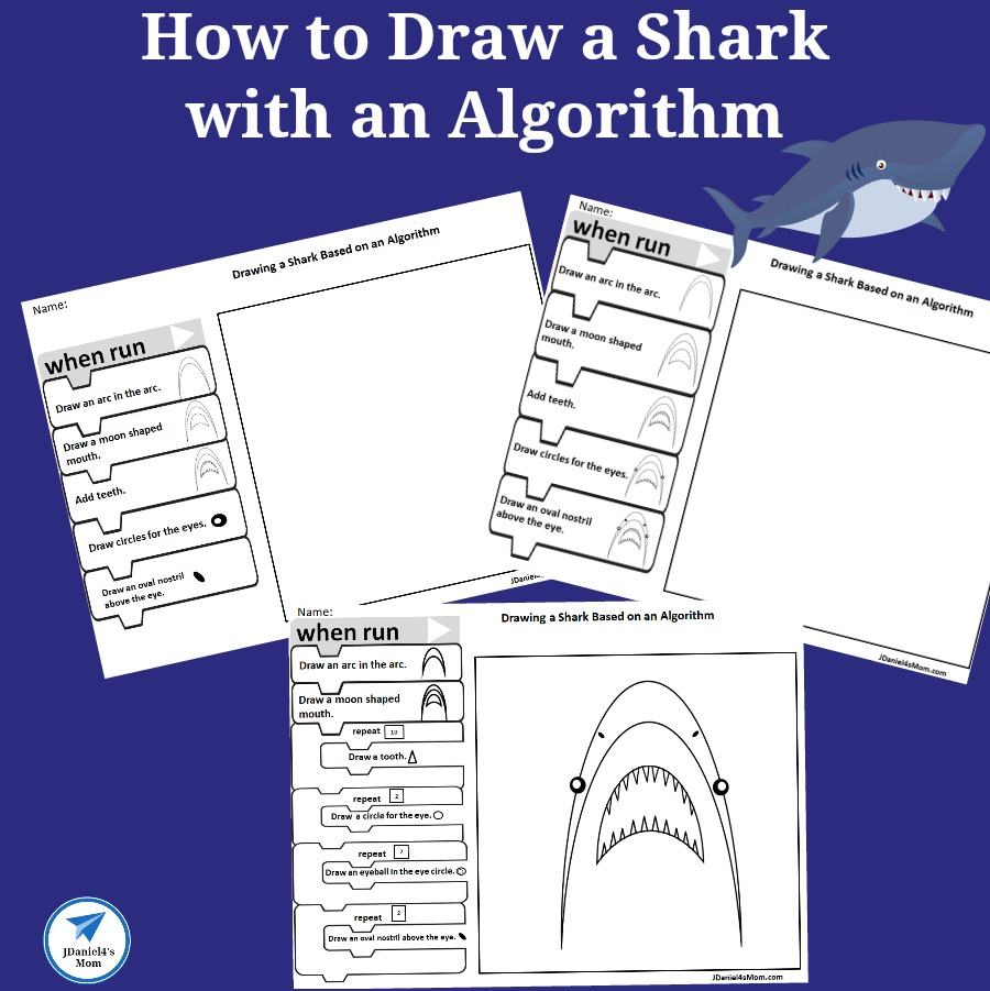 How to Draw a Shark with an Algorithm Worksheet Set for Kids- This set features Blockly blocks.