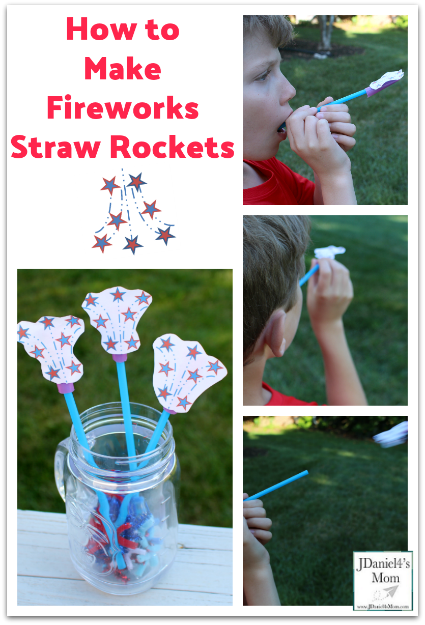 How to Make Fireworks Straw Rockets - The STEM activity is so much fun for students at school or kids at a 4th of July picnic.