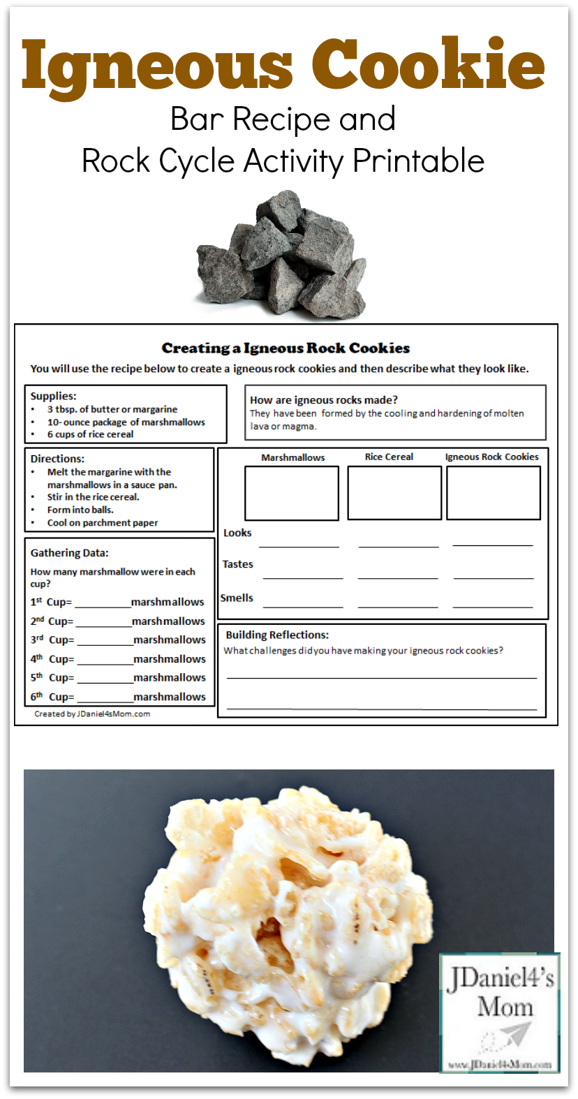 Igneous Cookie Bar Recipe and Rock Cycle Activity Printable - This is the third in a series of three rock themed recipes for kids to make. Each has its on recipe and exploration printable.