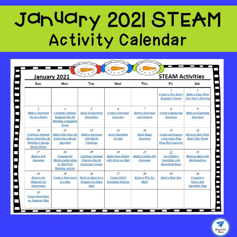 January 2021 STEAM Activity Calendar