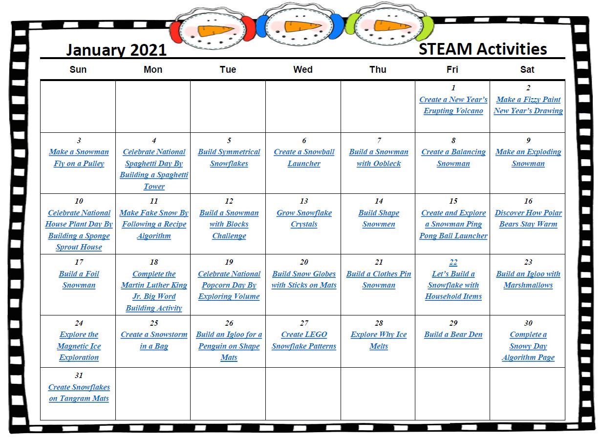 January STEAM Calendar 2020