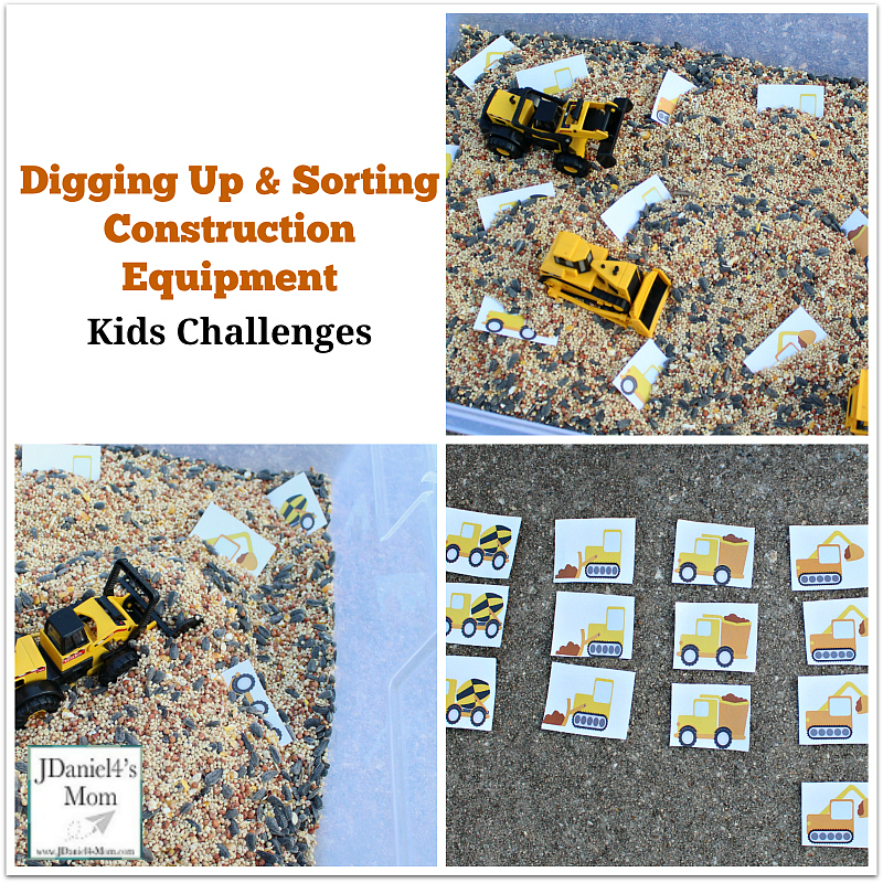 Kids Challenges- Digging Up and Sorting Construction Equipment Printables