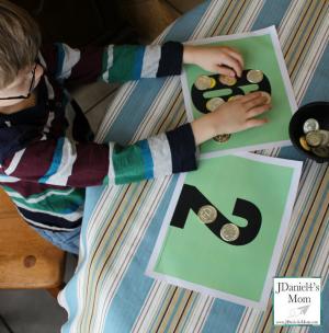 Kindergarten Worksheets- Gold Coin Math Mats
