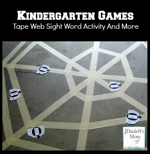 Kindergarten Games- Tape Web Sight Word Activity and More