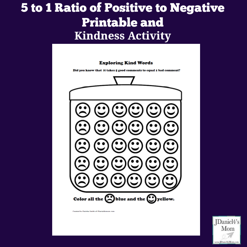 Kindness Activity - 5 to 1 ratio of Positive to Negative Printable- It takes a lot of positive comments to get past a negative one.