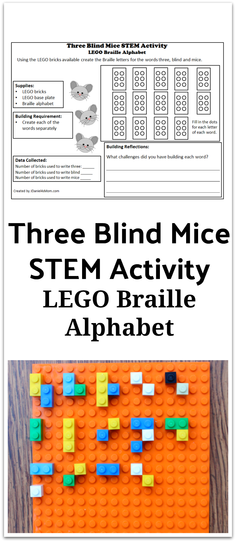 LEGO Braille Alphabet : Three Blind Mice STEM Activity - This activity has a planning and reflections printable. It gives your children at home or your students at school a chance to explore Braille.