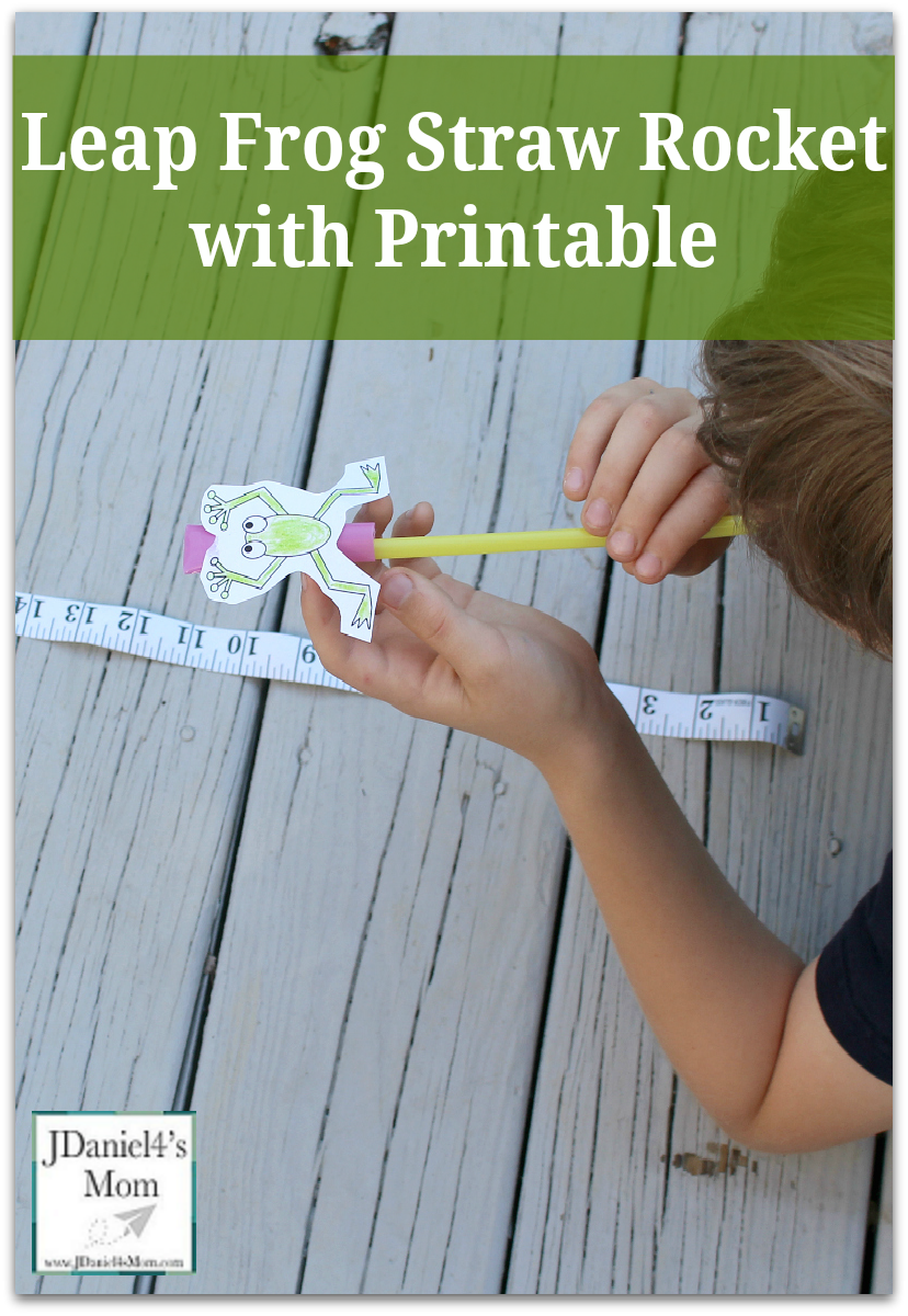 Leap Frog Straw Rocket with Printable - Your children will have decorating a frog printable and then try to make it leap. Kids will use breathe control to make the frog leap farther and farther.
