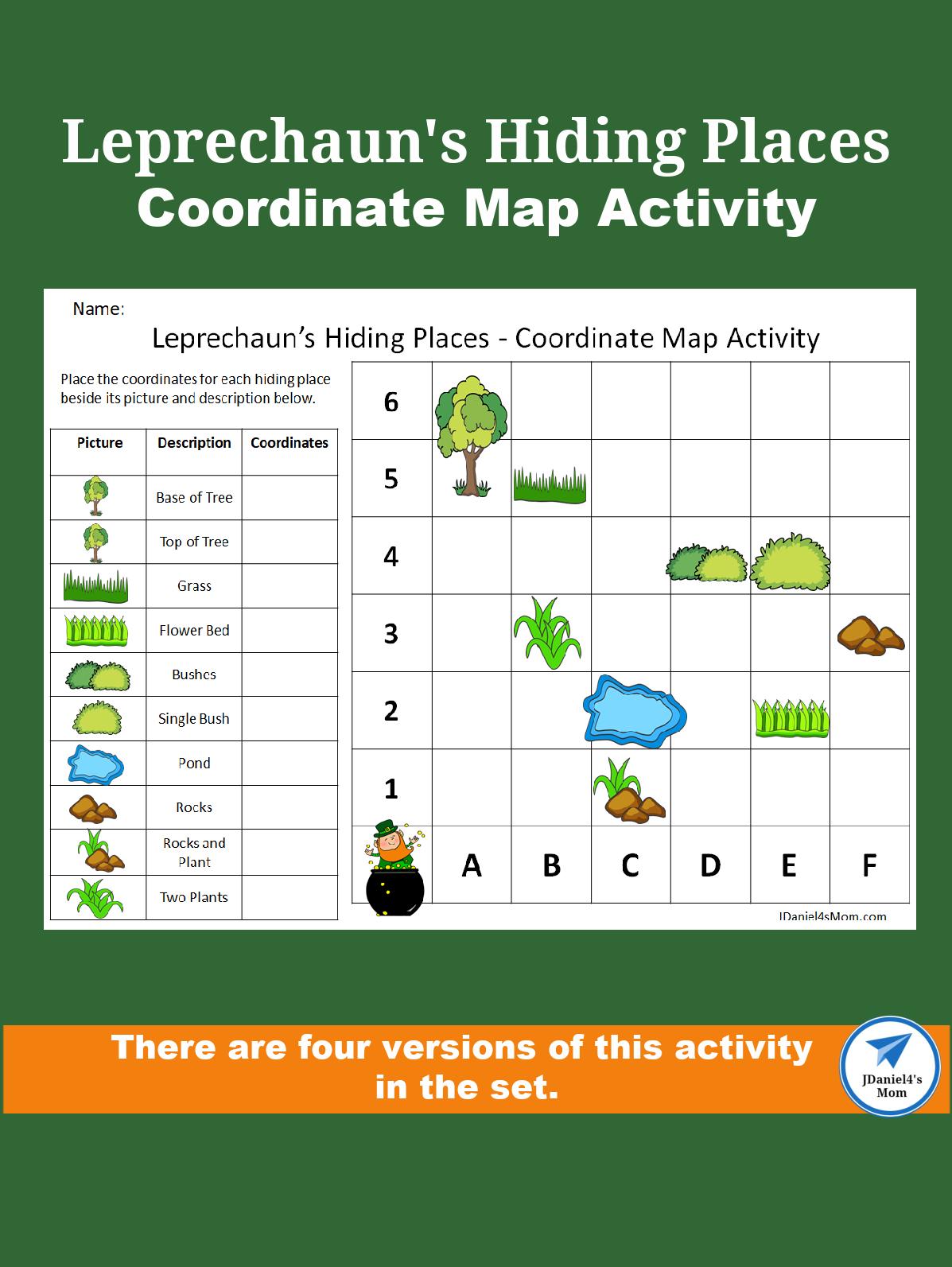 Leprechaun's Hiding Places - Coordinate Map Activity Set