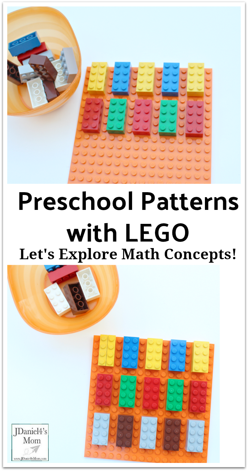 Let's Explore Math Concepts!  Preschool Patterns with LEGO : Children at home or students at school can explore how to build simple patterns with brick and a base plate.