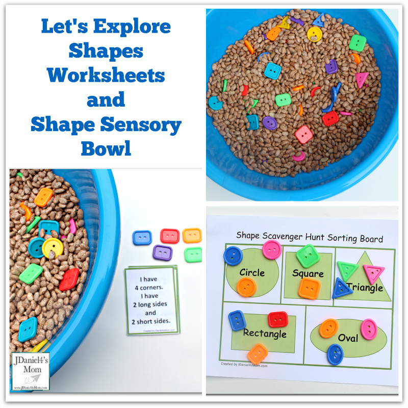 Let's Explore Shapes Worksheets and Shape Sensory Bowl