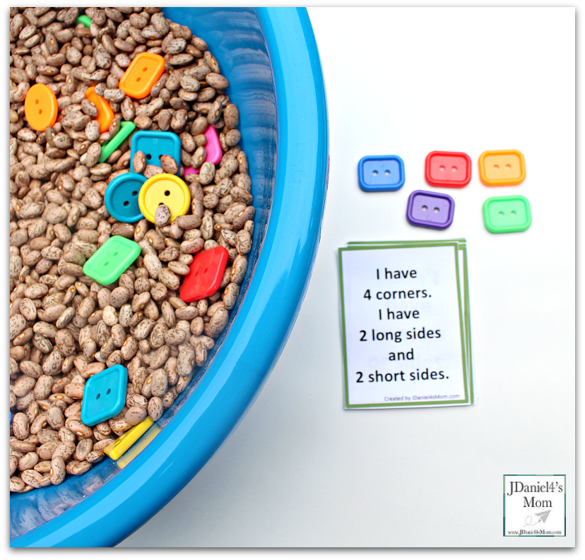 Let's Explore Shapes Worksheets and Shape Sensory Bowl with Clue Cards