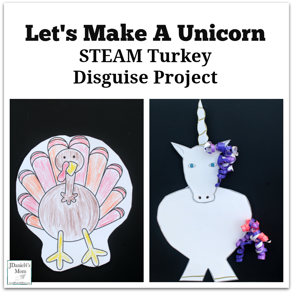 Let's Make a Unicorn STEAM Turkey Disguise Project - Actually children can design a variety of disguises for a turkey. This printable set includes a turkey template, planning document and idea chart.