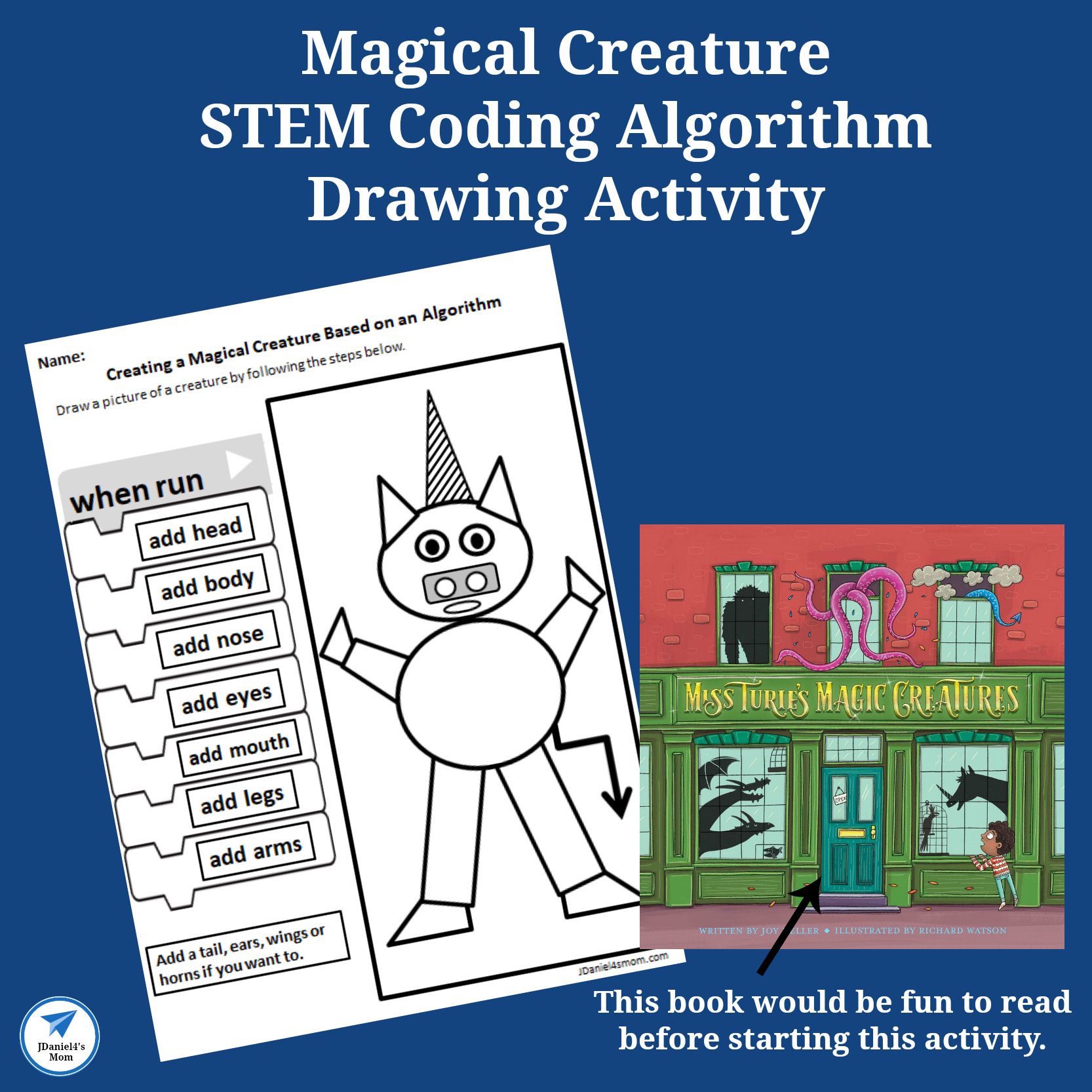 Magical Creatures STEM Coding Algorithm Drawing Activity - This activity was created to go along with the book Miss Turie's Magic Creatures. It is a fun way to work on coding and exploring algorithms.