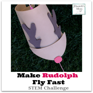 Make Rudolph Fly Fast STEM Challenge- After constructing a flying reindeer, it is time conduct a science experiment to see how to make him fly fast.