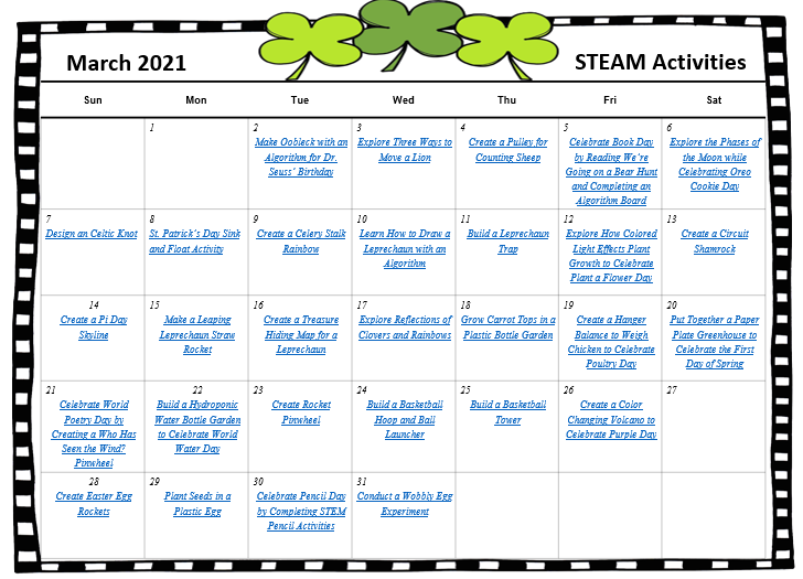 March STEAM Activities Calendar