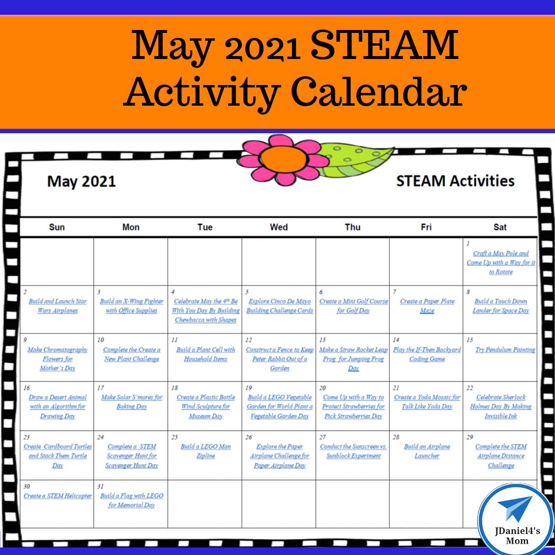 May 2021 STEAM Calendar