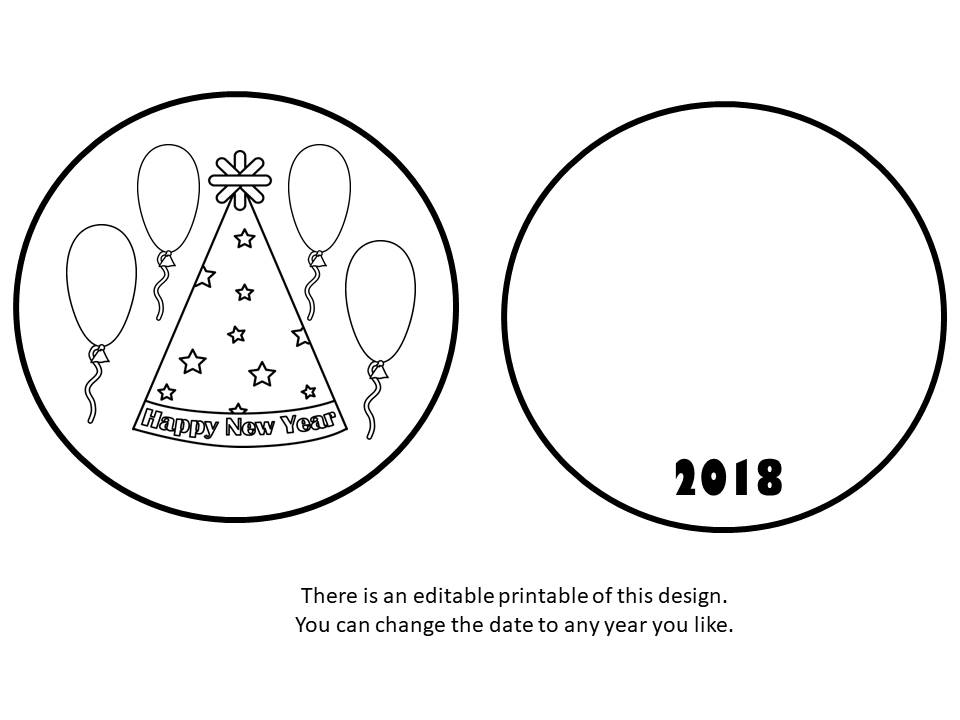 New Year's Thaumatrope Printable Set - Children at home and students at school can select from four designs for their thaumatrope. This one has an editable text box.
