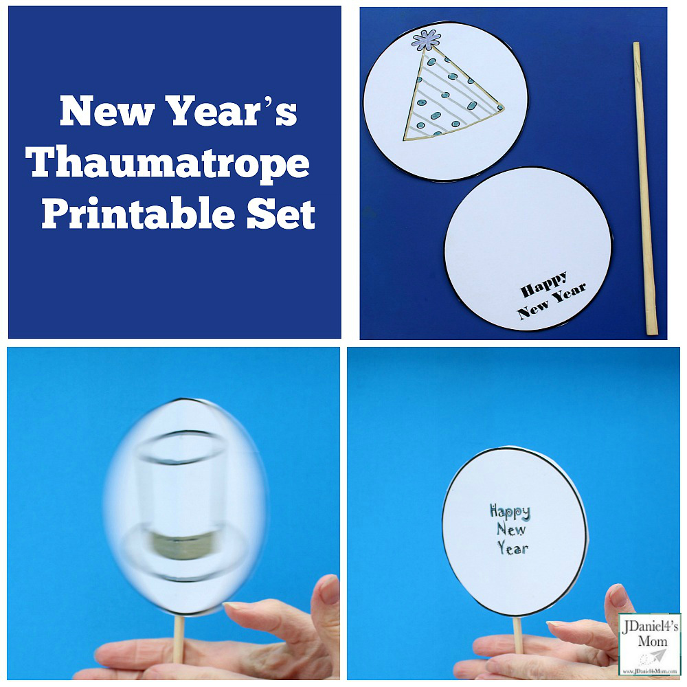 New Year's Thaumatrope Printable Set - Children at home and students at school can select from four designs for their thaumatrope.
