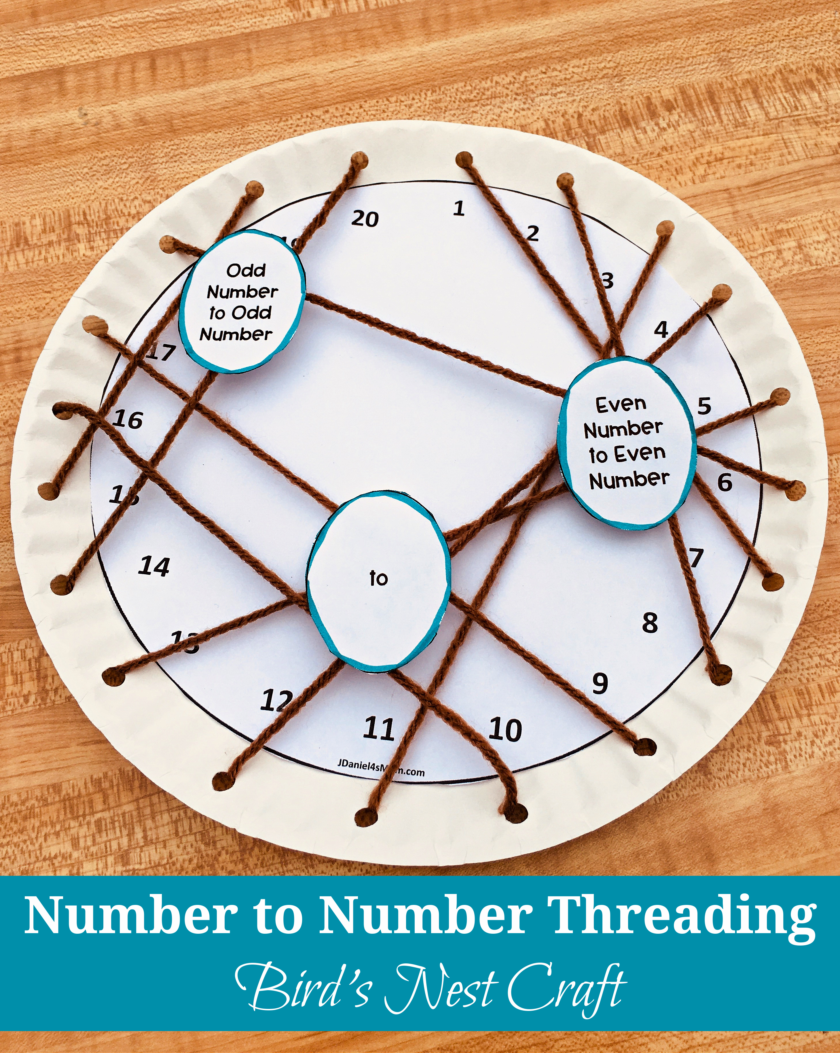 Number to Number Threading Bird Nest Craft