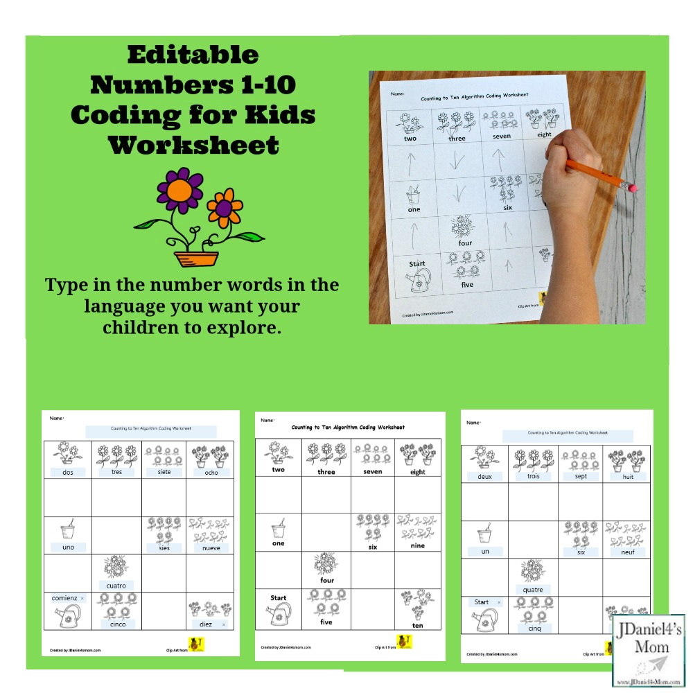 Numbers 1-10 Editable Coding for Kids Worksheet