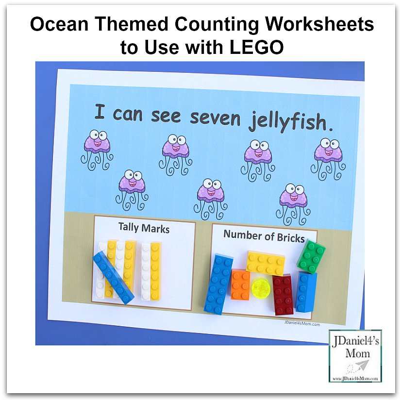 Ocean Themed Counting Worksheets to Use with LEGO