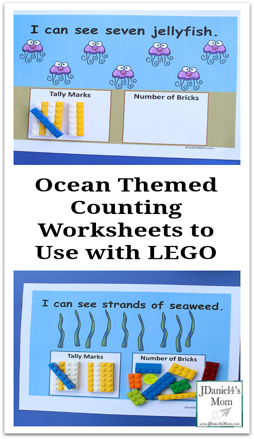 Ocean Themed Counting Worksheets to Use with LEGO- This set includes worksheets for numbers one thru ten for kids to explore. Counting with one to one correspondence and tally marks. There is even a fun way to double check your answers.