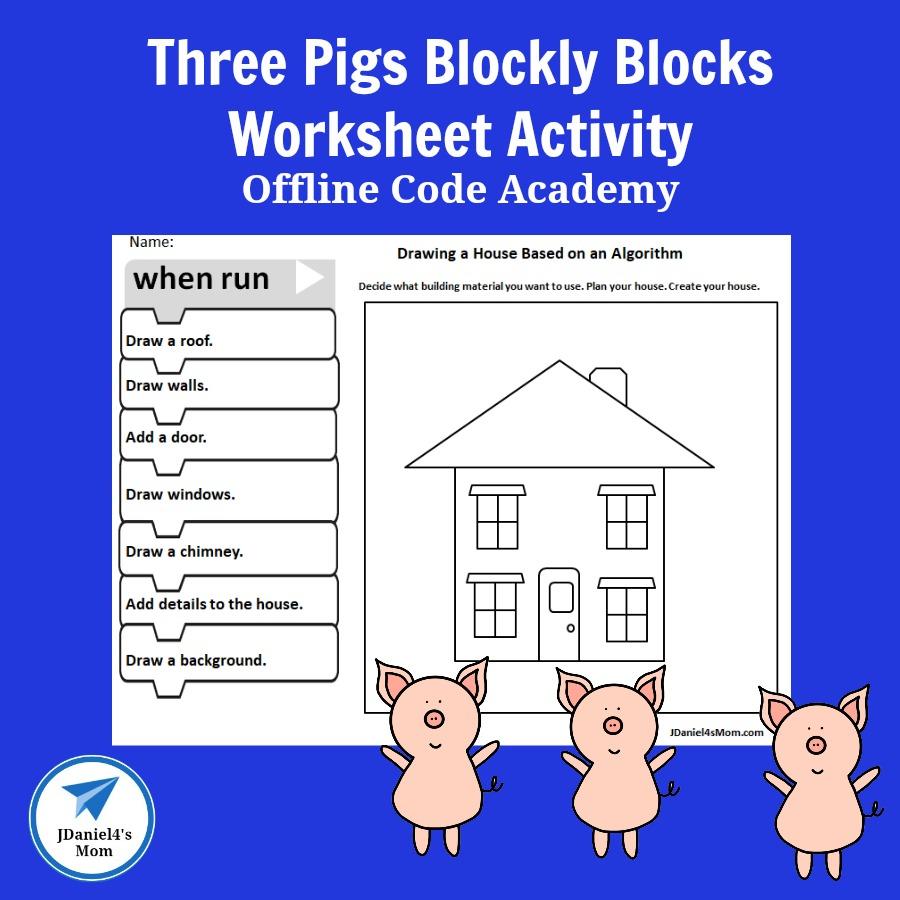 Offline Code Academy -Three Pigs Blockly Blocks Worksheet Activity