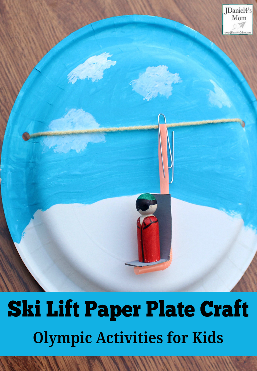 Olympic Activities for Kids: Ski Lift Paper Plate Craft- This is the third in a series for five Olympic themed science and craft activities. This project explores using a pulley and creating a ski lift. This would be fun to do during the Winter Olympics. Students at school or children at home with have fun creating this interactive craft. Making the lift chair move it fun too. The yarn loop acts like a pulley. What a fun way to explore a simple machine.