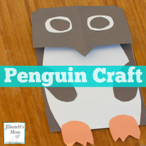 Penguin Craft Based on 365 Penguins- This fun puppet can be used for retelling the story.