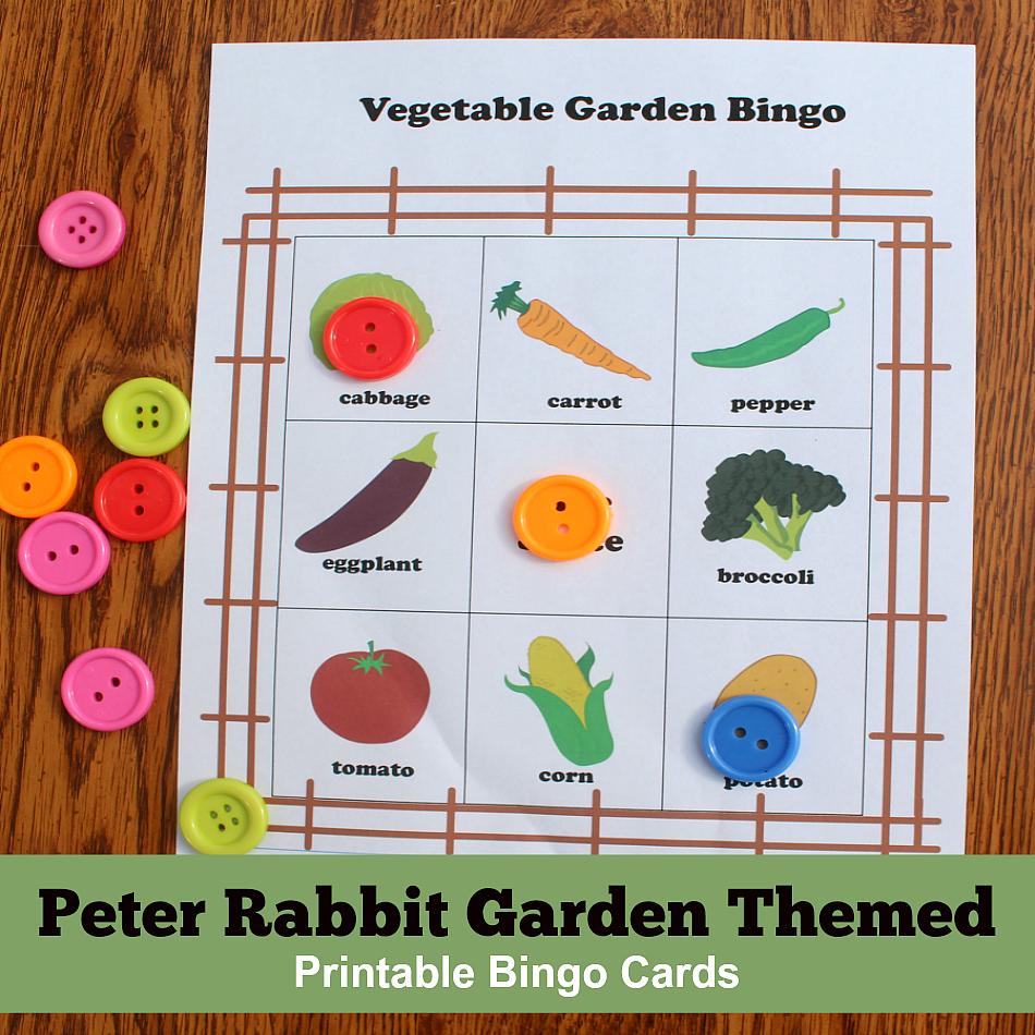 Peter Rabbit Garden Themed Printable Bingo Cards