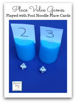 Place Value Games Played with Pool Noodle Place Cards