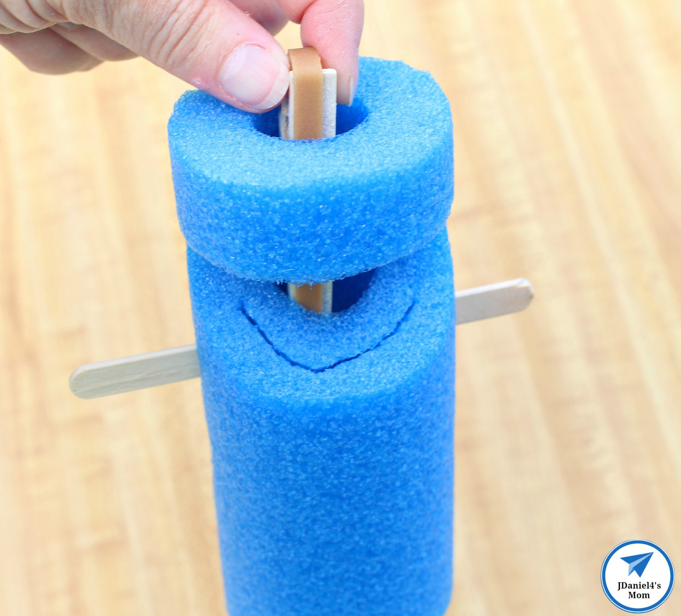 Pool Noodle Shark Adding the Clothes Pin with Logo