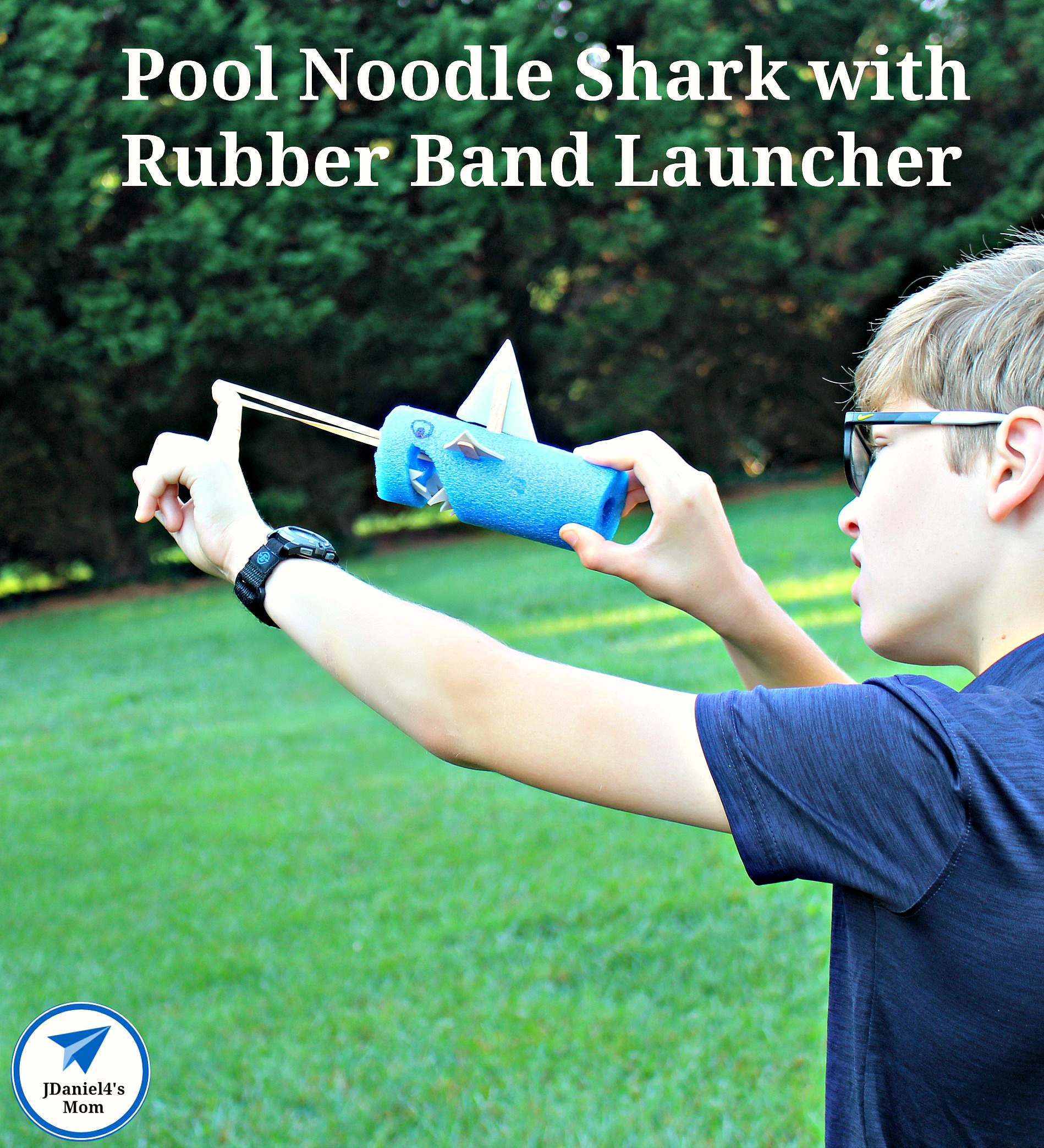 Pool Noodle Shark with Rubber Band Launcher
