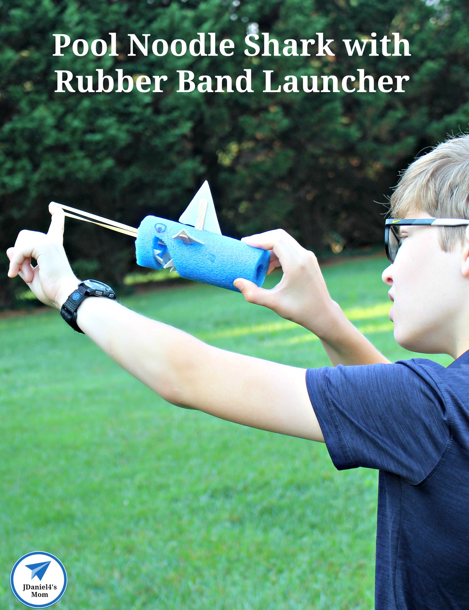Pool Noodle Shark with Rubber Band Launcher - Your children will have fun creating their on pool noodle shark with rubber band launcher. #jdaniel4smom #poolnoodle #shark #launcher #STEM #sharkweek