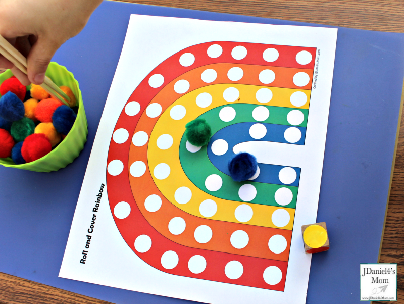 Preschool Color Activities - Roll and Cover Rainbow - Moving Pom Poms