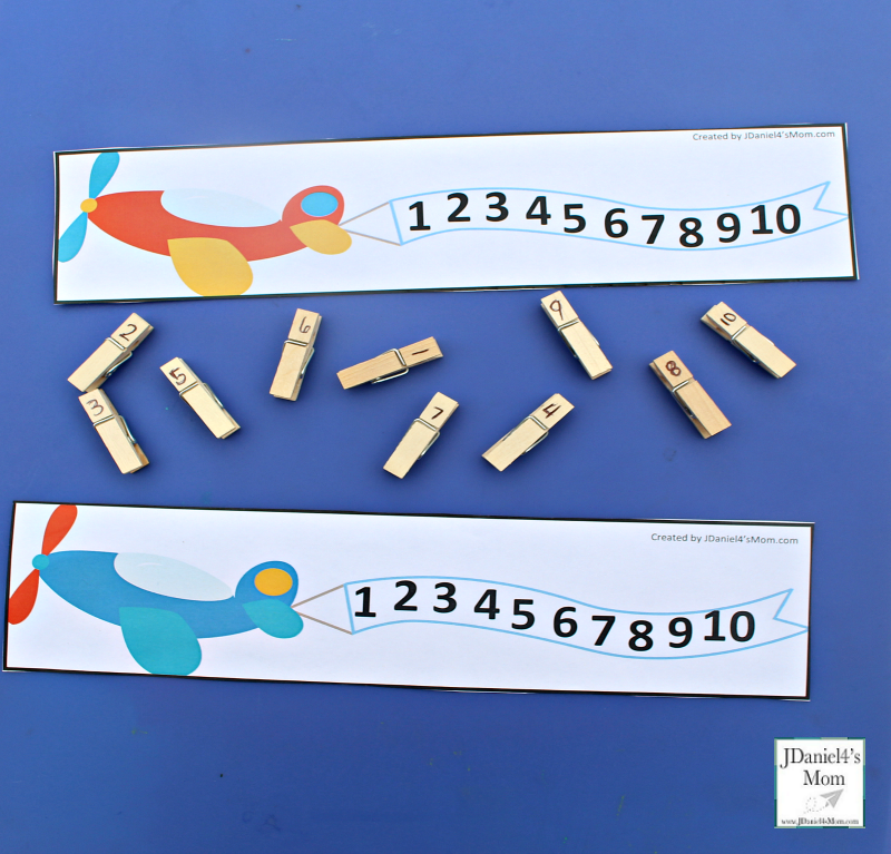 Preschool Number Activity- Airplane and Clothes Pin Number Match with Printables