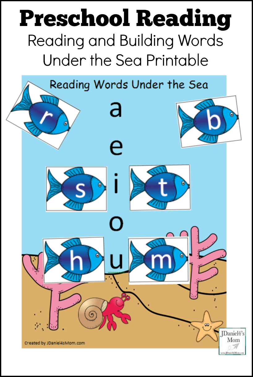 Preschool Reading - Reading and Building Words Under the Sea Printable